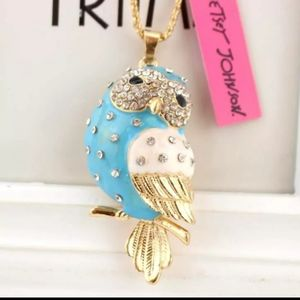New blue owl necklace